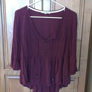 maroon blouse with tie front